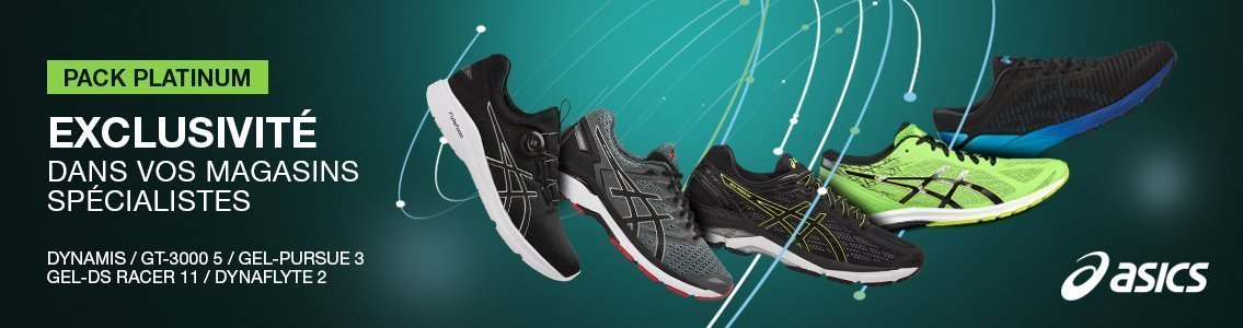 Asics : Dynaflyte 2 -Gel Pursue 3 - GT-3000 5 - Dynamis - Gel-DS Racer 11