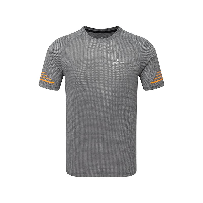 RONHILL Tee-shirt manches courtes STRIDE Homme   Grey Marl/Sunburst